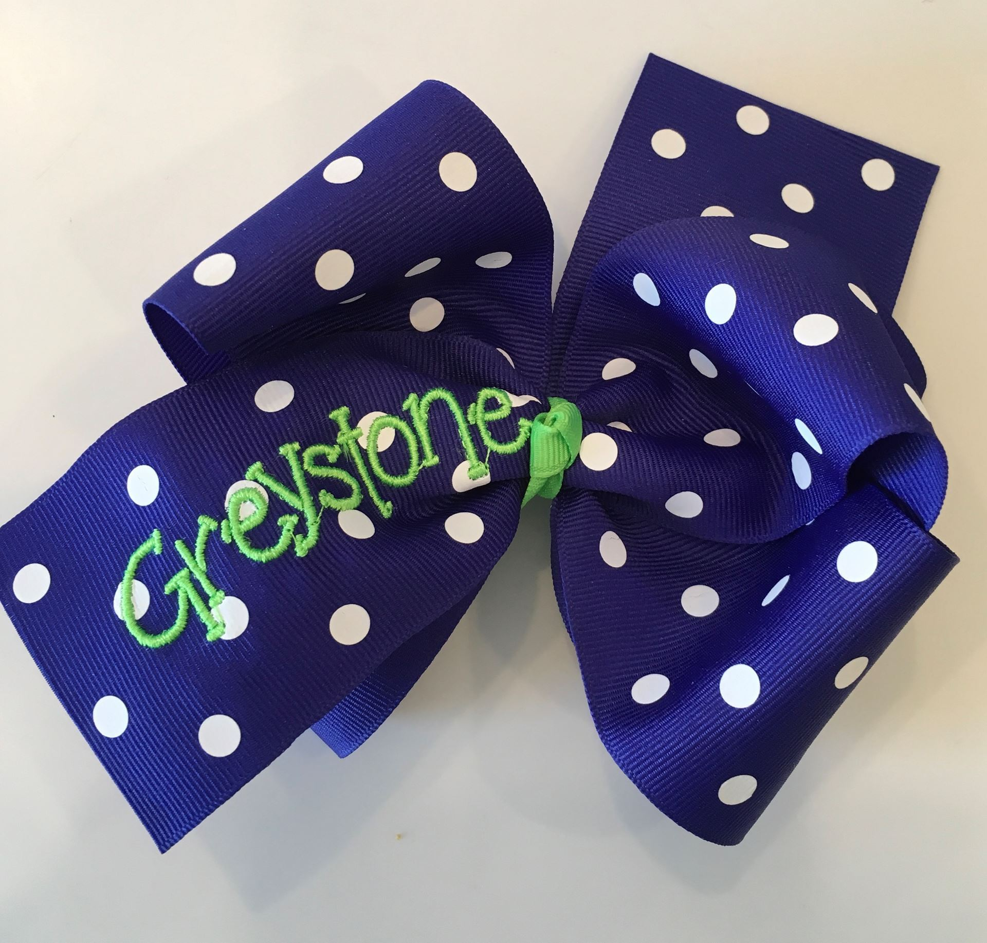 Picture of Royal Blue Polka Dot Hair Bow