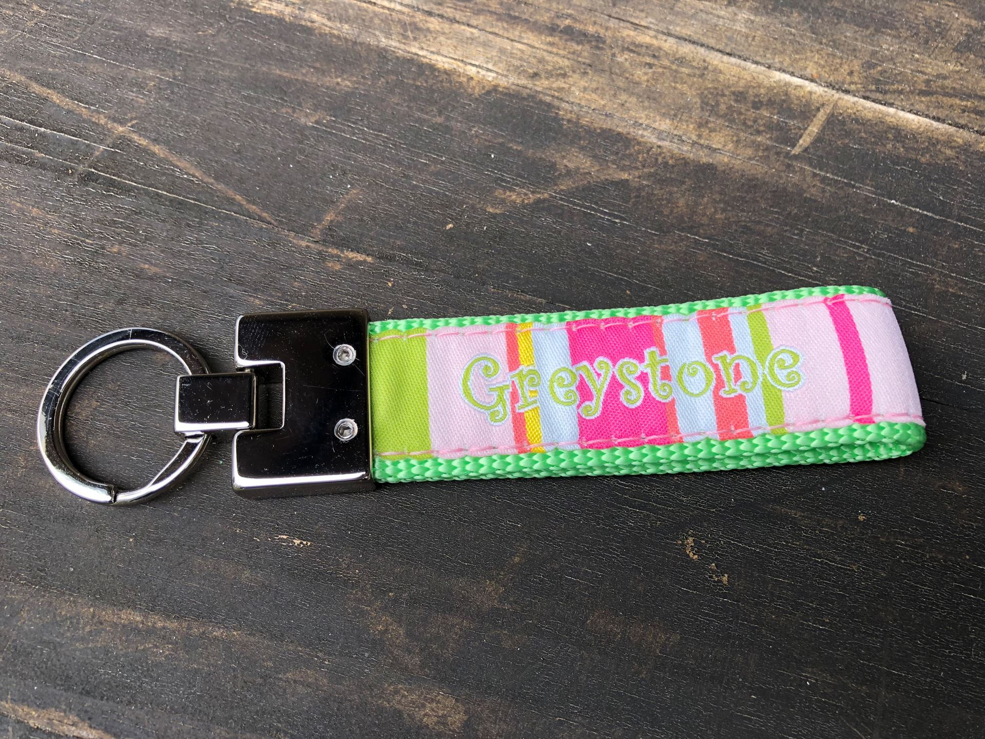 Picture of Pink Striped Key Fob