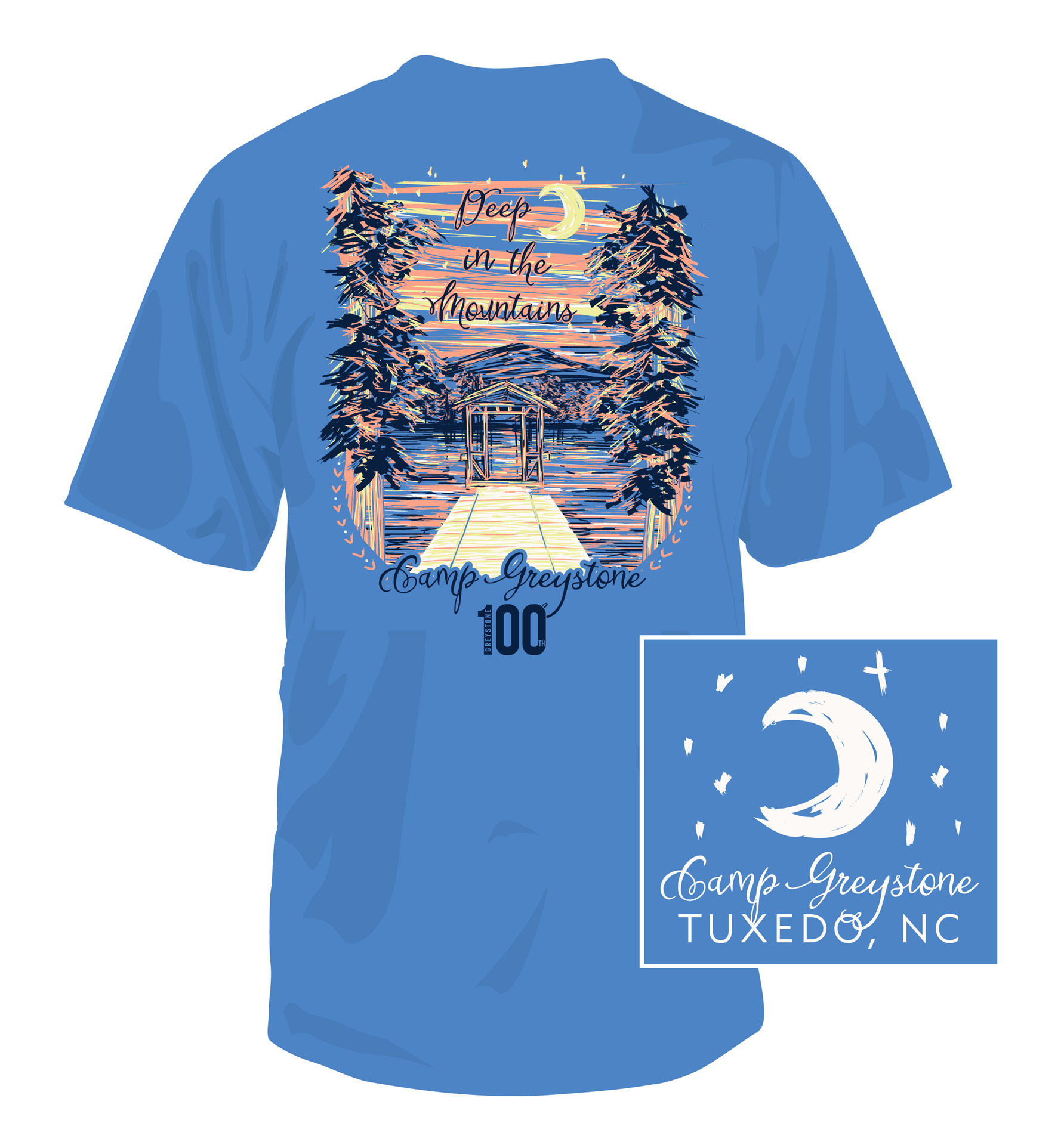 Picture of Deep in the Mtns Shirt,  Short Sleeve Flo Blue 100th yr - 2019
