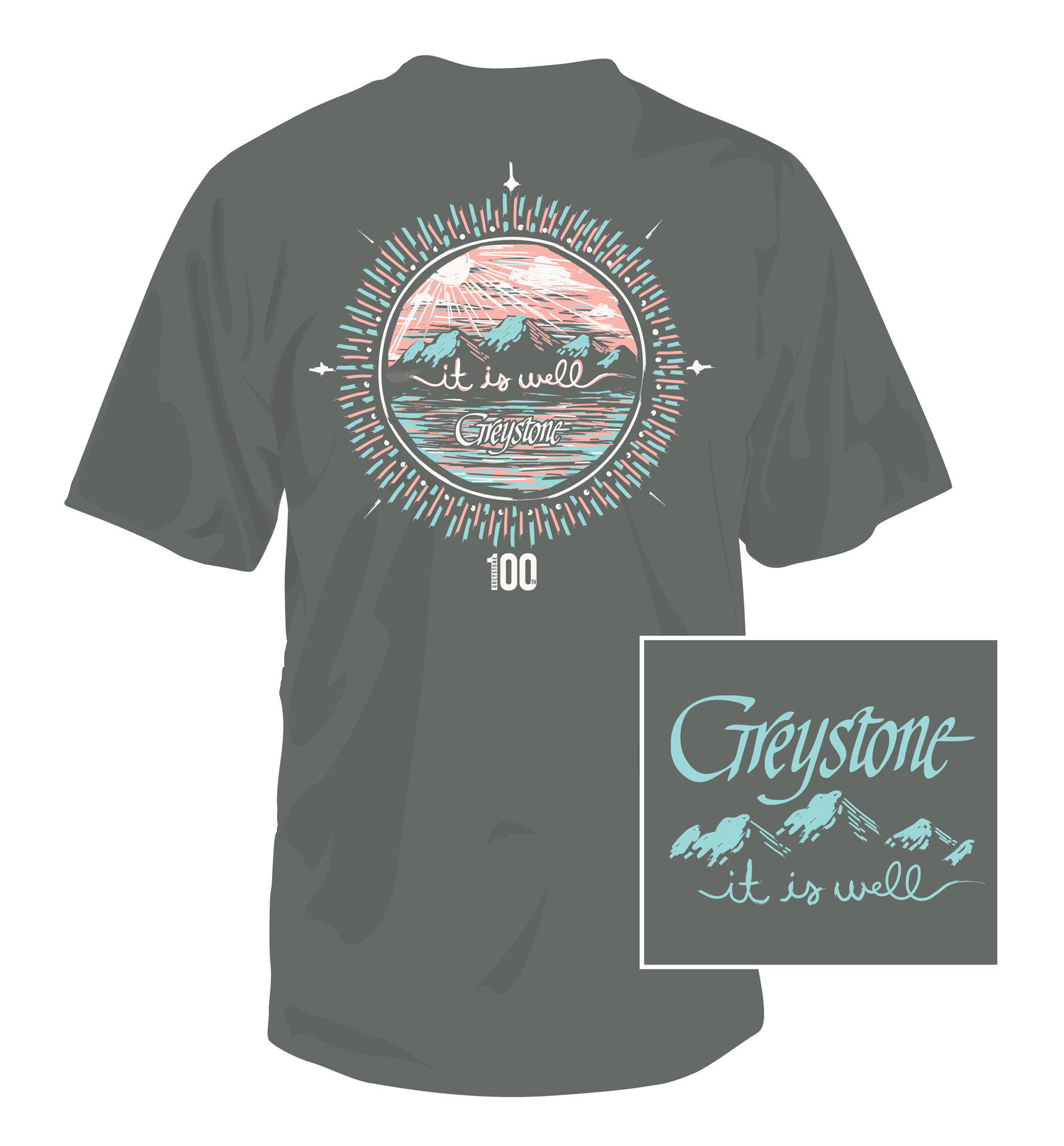 Picture of It Is Well T-Shirt, Grey, Short Sleeve, 100th yr