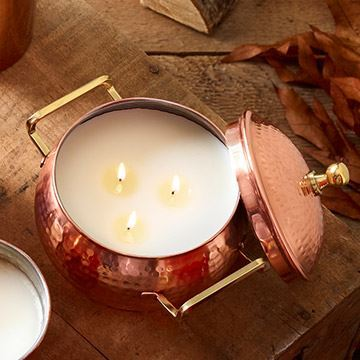 Picture of Thymes Simmered Cider 3-wick Copper Pot Candle