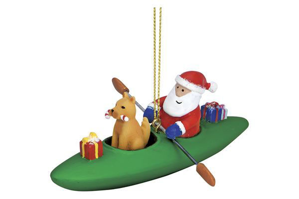 Picture of Dog in Kayak with Santa Ornament