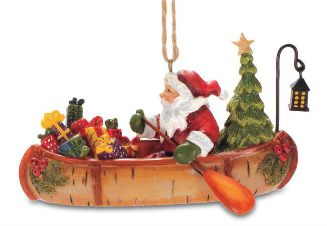 Picture of Santa in Birch Canoe Ornament