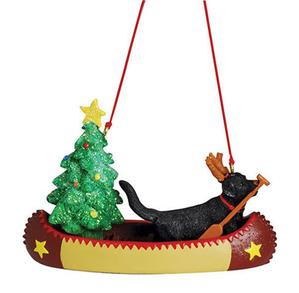 Picture of Dog in Canoe Ornament
