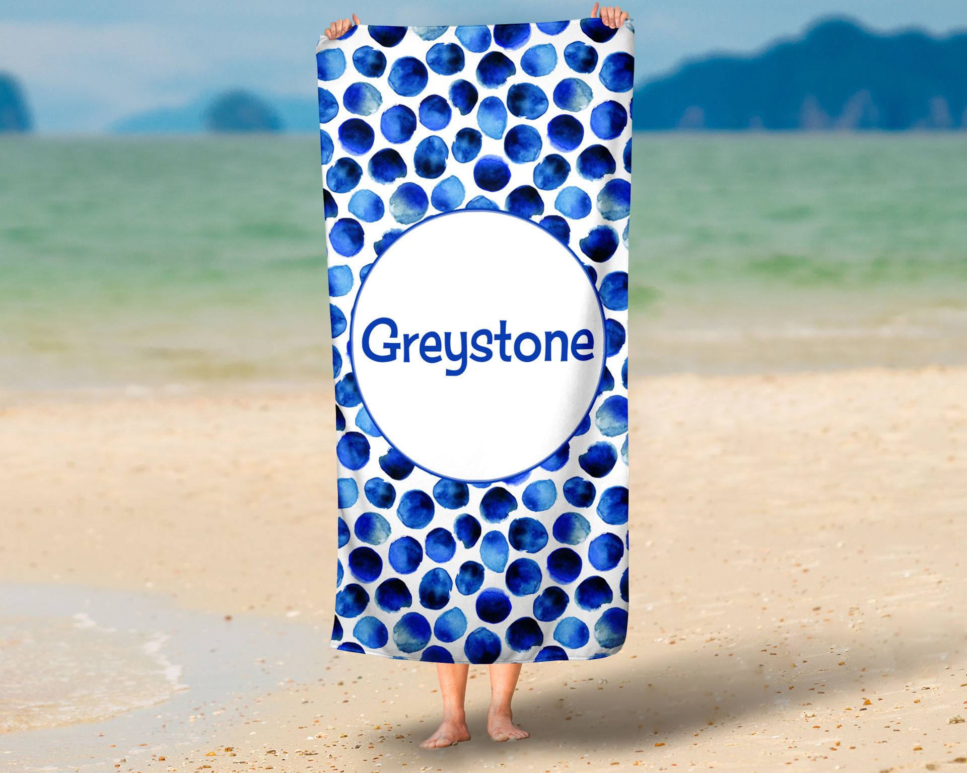 Picture of St. Bart's Blue Dot Oversized Beach Towel