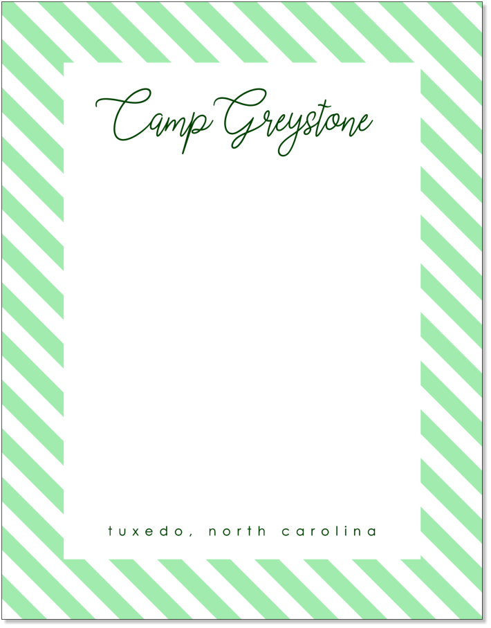"""Picture of Greystone Green Stripe 8 1/2"""" x 11"""" Stationery Sheet Set"""