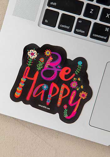Picture of Be Happy Black Decal Sticker