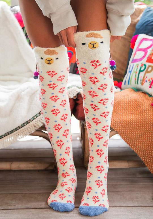 Picture of Over-the-Knee Cozy Socks - Llama