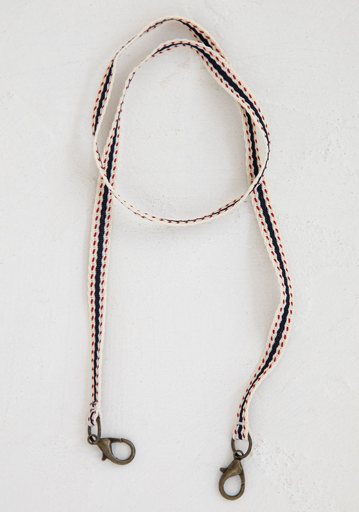 Picture of Mask Lanyard - Navy Cream Trim
